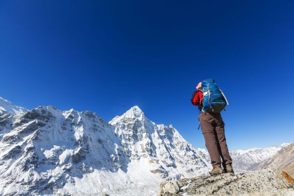 55483765 - hiker in himalayas mountain. nepal